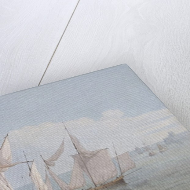 A Hoy and a Lugger with other Shipping on a Calm Sea by John Thomas Serres