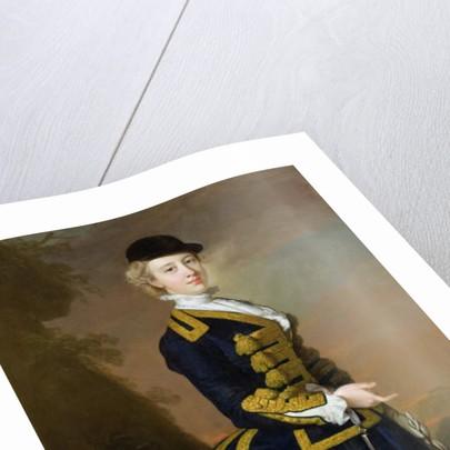 Portrait of Nancy Fortesque wearing a dark blue riding habit by Thomas Hudson