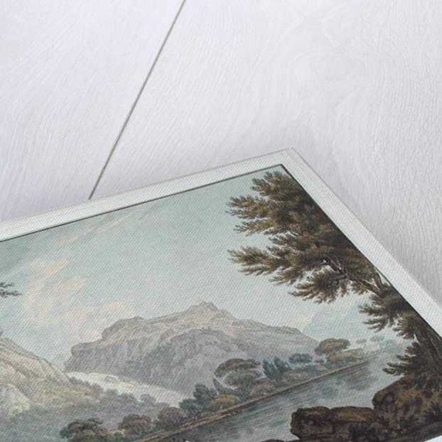 Lodore Rocks - fall & cottage distance by Joseph Farington
