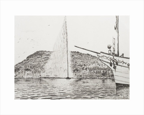 Geneva, Fountain and Bow of pleasure Boat by Vincent Alexander Booth