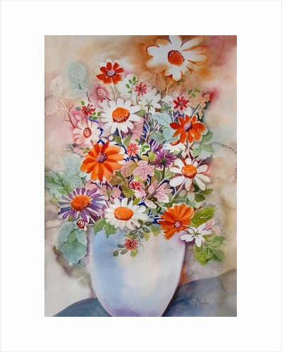 White vase with daisies by Neela Pushparaj