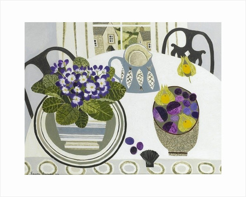 African Violets and fish Jug by Vanessa Bowman