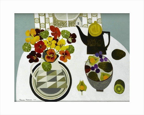 Nasturtiums in Geometric Jug by Vanessa Bowman