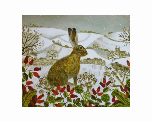 Seated Hare in Snow by Vanessa Bowman
