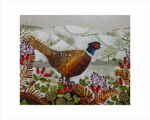 Pheasant and Snowy Hillside by Vanessa Bowman