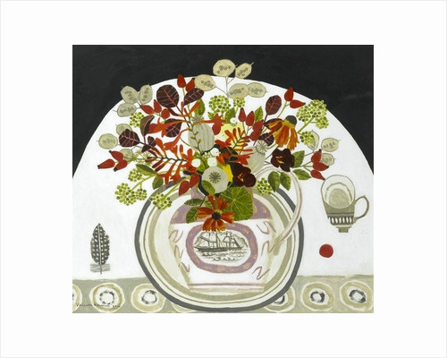 Autumn Flowers in ship Jug by Vanessa Bowman