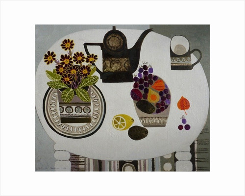 Auricula and Black Coffeepot by Vanessa Bowman