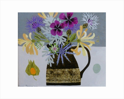Garden Flowers in Stoneware jug by Vanessa Bowman