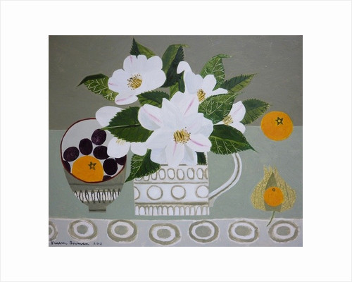 White Camelia and Tangerines by Vanessa Bowman