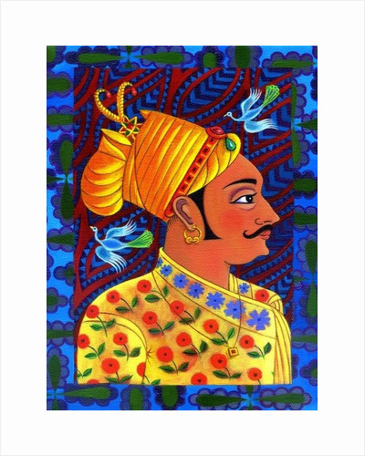 Maharaja with blue birds by Jane Tattersfield