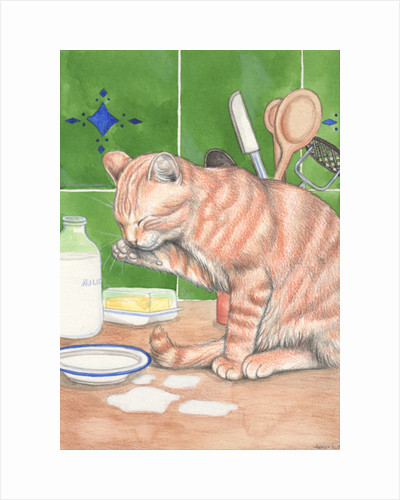 Ginger Cat With Milk, 1995 by Joanna Scott