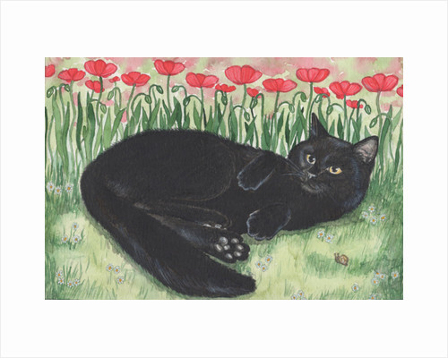 Black Cat With Poppies, 1993 by Joanna Scott