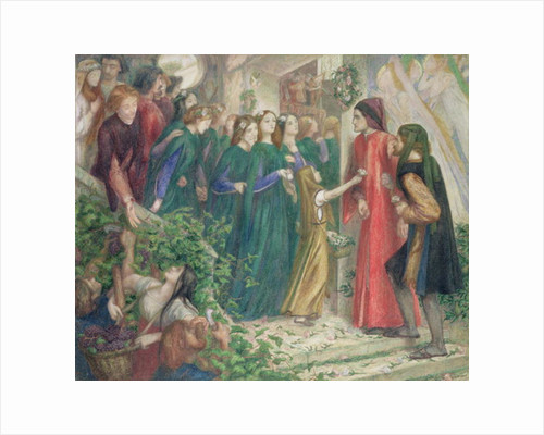 Beatrice Meeting Dante at a Marriage Feast Denies Him Her Salutation, 1860s by Dante Gabriel Charles Rossetti