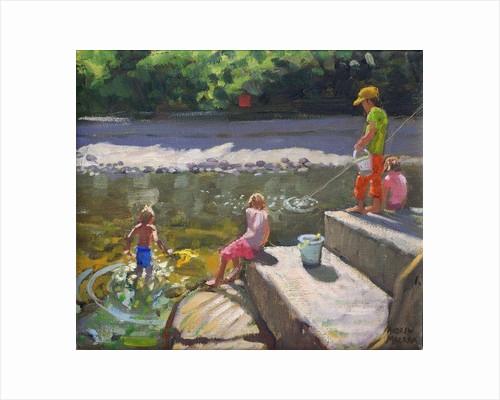 Kids fishing,Looe,Cornwall by Andrew Macara