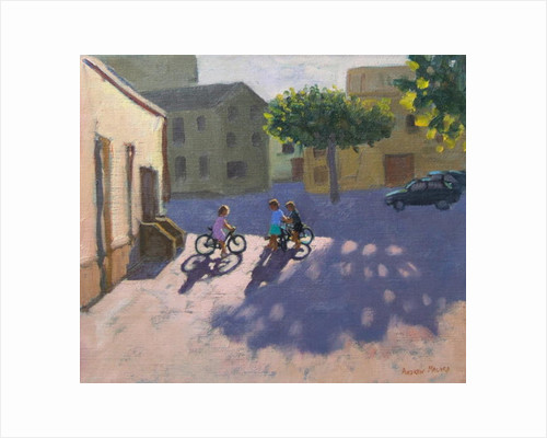 Three children with bicycles, Spain by Andrew Macara