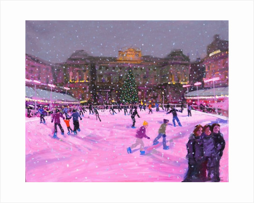 Christmas skating,Somerset House with pink lights by Andrew Macara