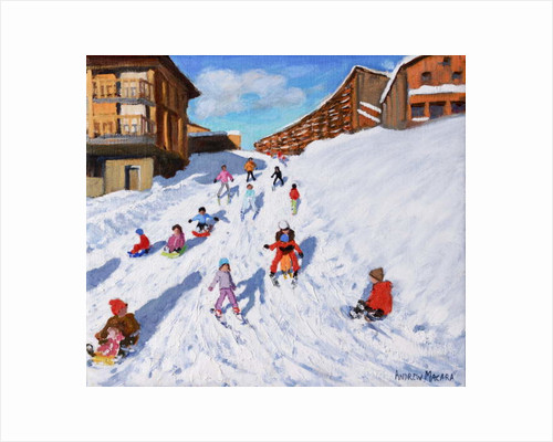 Christmas Sledging, Les Arcs by Andrew Macara