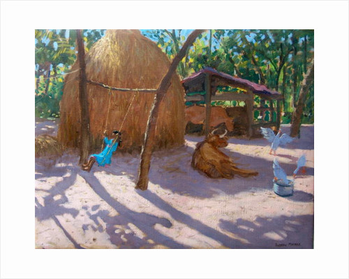 Haystack, And Girl On A Swing, Kerala, 2005 by Andrew Macara
