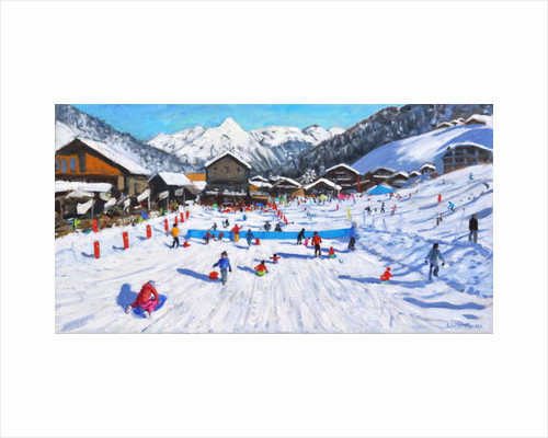 Children sledging, Les Gets, France by Andrew Macara