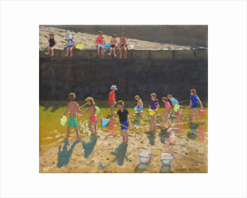 Crabbing in the Harbour, Bude, Cornwall, 2018 by Andrew Macara