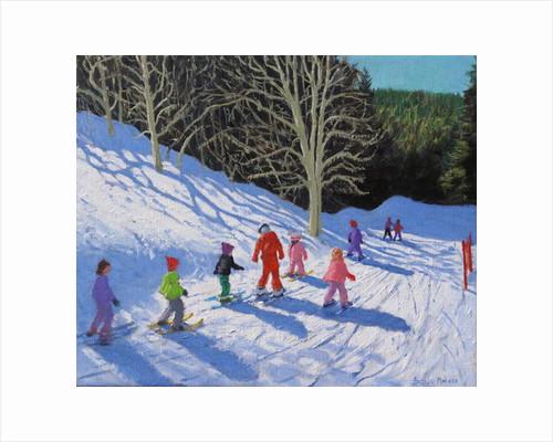 Children's ski lesson, Courchevel to La Tania by Andrew Macara