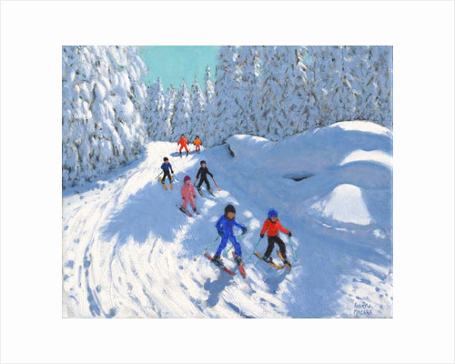 Skiing down the trail, Courchevel, 2018 by Andrew Macara