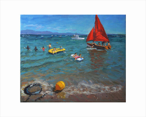Yellow Buoy and Red Sails, Abersoch by Andrew Macara