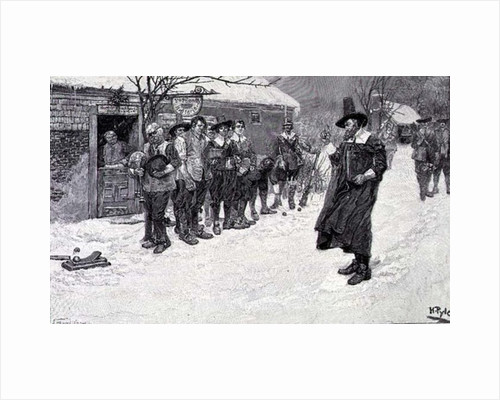 The Puritan Governor Interrupting the Christmas Sports, engraved by J. Bernstrom by Howard Pyle