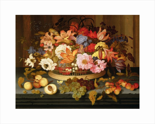 Still Life of Fruit and a Basket of Flowers by Balthasar van der Ast