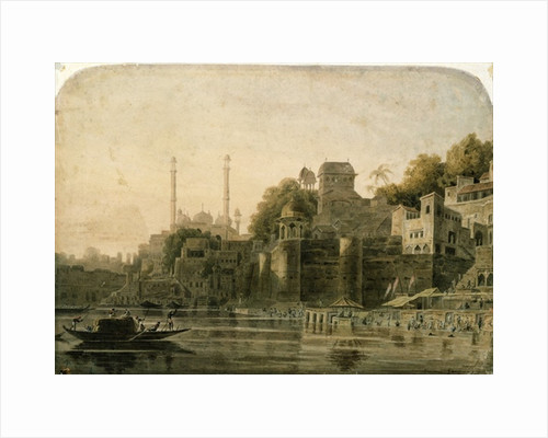 Bathing Scene at the Ghat on the Ganges by William Daniell