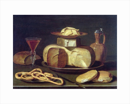 Still Life with bread, cheese, wine and pretzels by Osias the Elder Beert