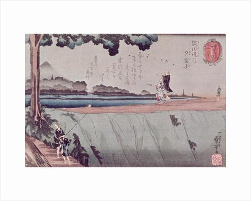 Mount Fuji from the Sumida River embankment, one of the views from Edo by Utagawa Kuniyoshi
