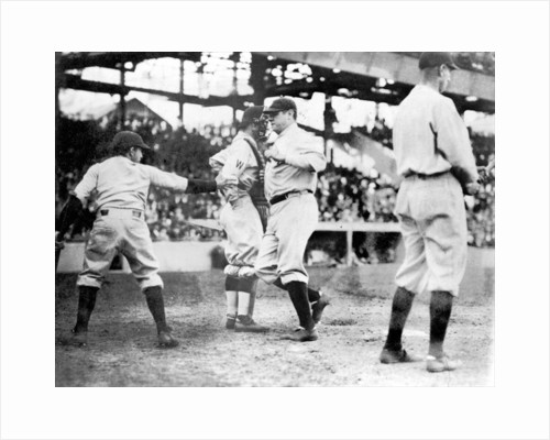 Babe Ruth crossing the plate after making his first home run of the season today by Anonymous