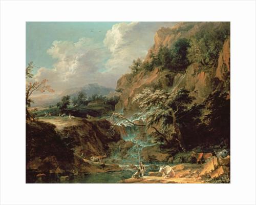 Landscape with waterfall by Joachim Franz Beich