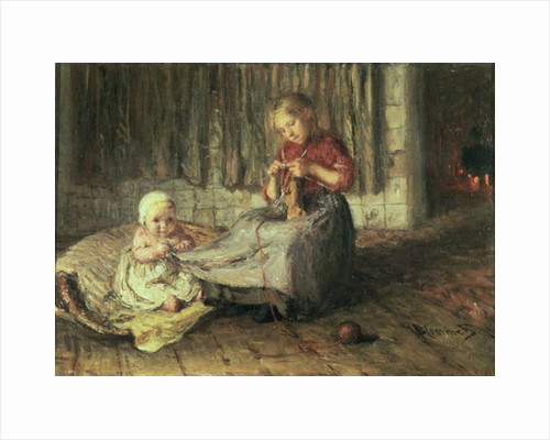 Baby sitting by Bernardus Johannes Blommers or Bloomers