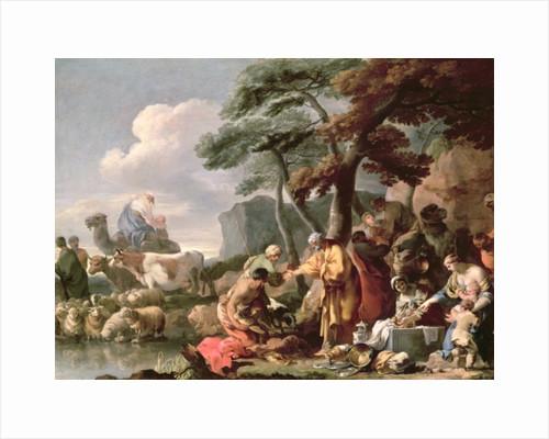 Jacob burying the false gods under the oak by Shechem by Sebastien Bourdon