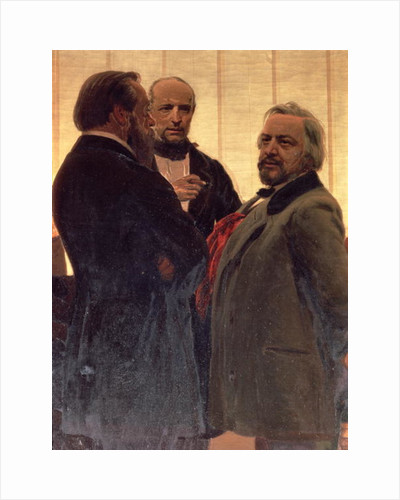 Vladimir Odoevsky, Mily Balakirev and Mikhail Ivanovich Glinka by Ilya Efimovich Repin