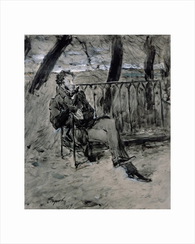 Alexander Pushkin in a Park by Valentin Aleksandrovich Serov