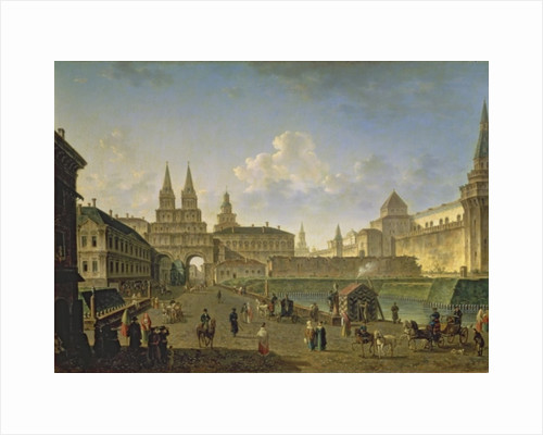 View of the Voskresensky and Nikolsky Gates and the Neglinny Bridge from Tverskay Street in Moscow by Fedor Yakovlevich Alekseev