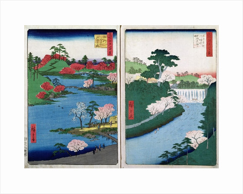 Along the riverbank, two views from '60-Odd Famous Views of the Provinces' by Ando or Utagawa Hiroshige