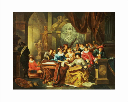 Music Party in a Palatial Interior with Statues and Works of Art by Franz Xavier Hendrick Verbeeck