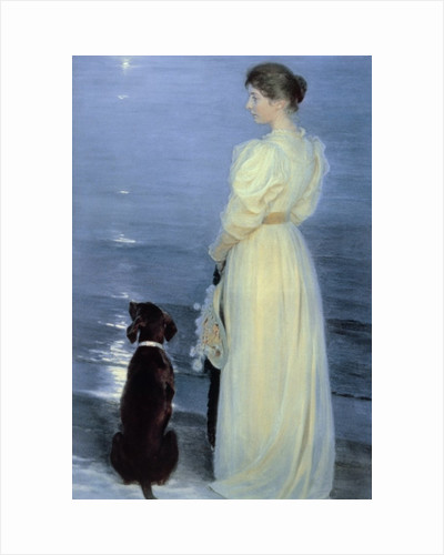 Summer Evening at Skagen, the Artist's Wife with a Dog on the Beach by Peder Severin Kroyer