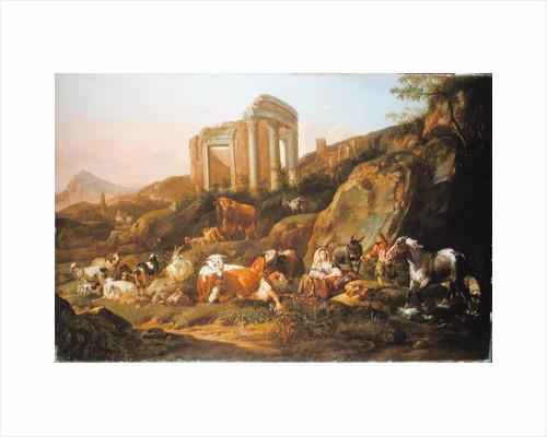 Farm animals in a Classical landscape by Johann Heinrich Roos
