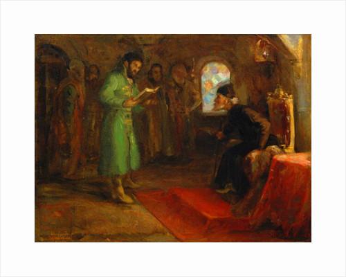 Boris Godunov with Ivan the Terrible by Ilya Efimovich Repin