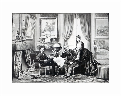 Emperor Napoleon III with Empress Eugenie and the prince Imperial at Camden Place, Chislehurst in 1872 by English Photographer