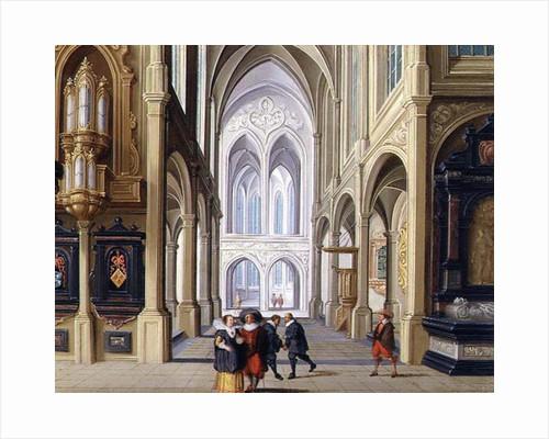 Elegant Figures in a Gothic Church by Dirck van Deelen