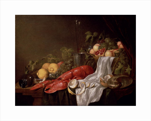 Still life of fruit and a lobster on a cloth-draped table by Jasper Geerards