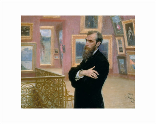 Portrait of Pavel Tretyakov in the Gallery by Ilya Efimovich Repin