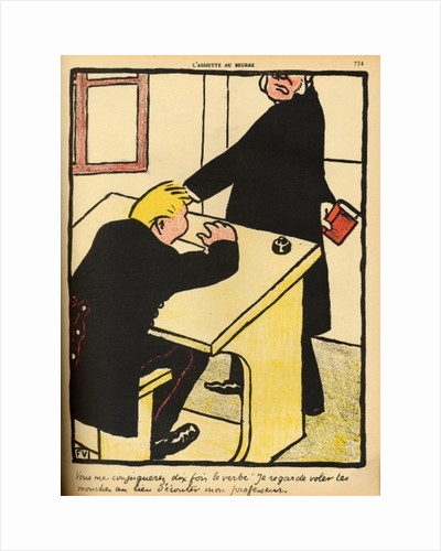 A teacher reprimands his pupil by Felix Edouard Vallotton