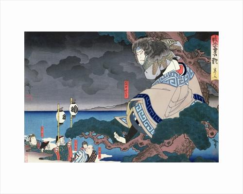 The actor Nakamura Utaemon IV as Higuchi no Jiro by Utagawa Hirosada, pupil of Kunimasu by Anonymous